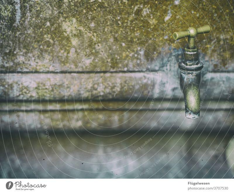 Hahn Wassertropfen Wasserspiegelung Wasserhahn Waschbecken erfrischend Erfrischung