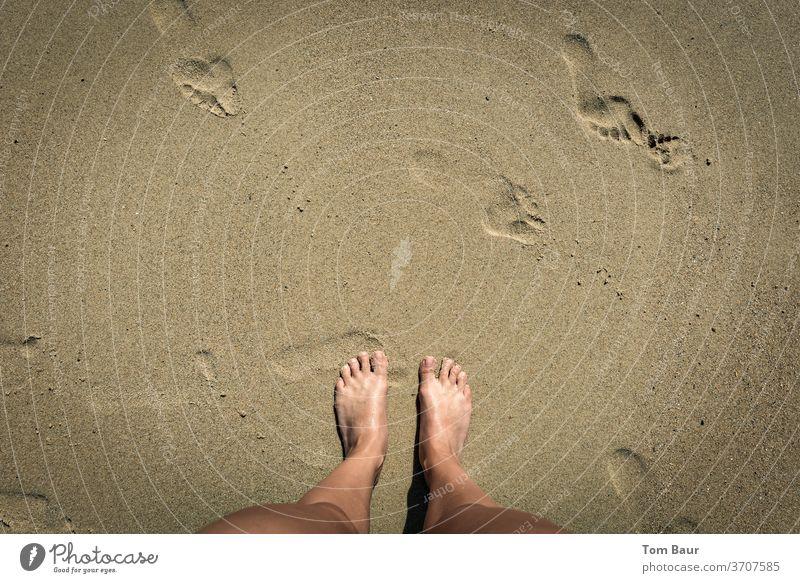 Füße im Sand am Meer mit weiteren Fußabdrücken Füße hoch strand sand fußabdruck Fußabdrücke im Sand Strand Sommer Ferien & Urlaub & Reisen Fußspur Spuren