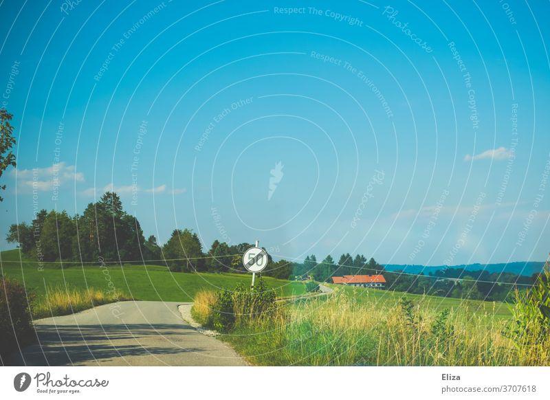Eine Landstraße im Sommer ohne Geschwindigkeitsbegrenzung Landschaft Verkehrsschild Straße frei freie Fahrt leer fahren Asphalt Wege & Pfade blauer Himmel