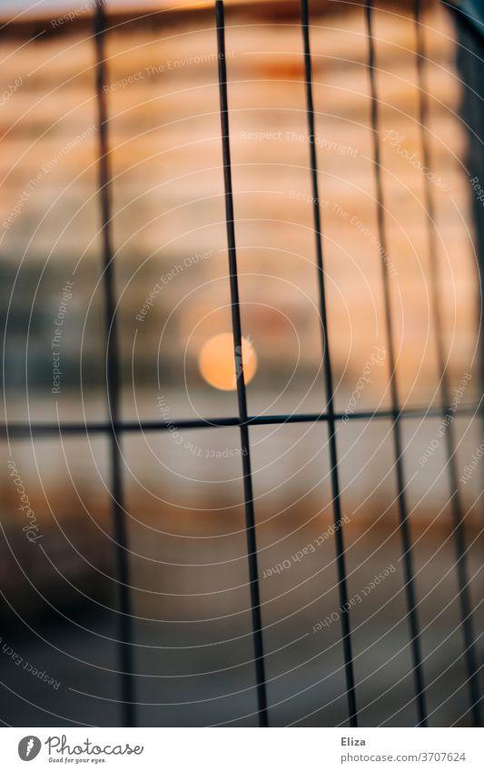 Licht und Wärme hinterm Zaun Bauzaun warm Baustelle abstrakt Absperrung Sicherheit Grenze Gitter Wohnhaus wärme Metall Strukturen & Formen Menschenleer Muster