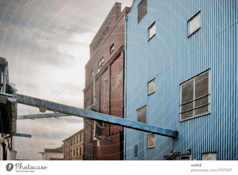 Kontor Gebäude Lagerhalle Wellblechwand Hafen Gestell Arbeit & Erwerbstätigkeit Arbeitsplatz Rechtschaffenheit Abend Wirtschaft Detailaufnahme Architektur