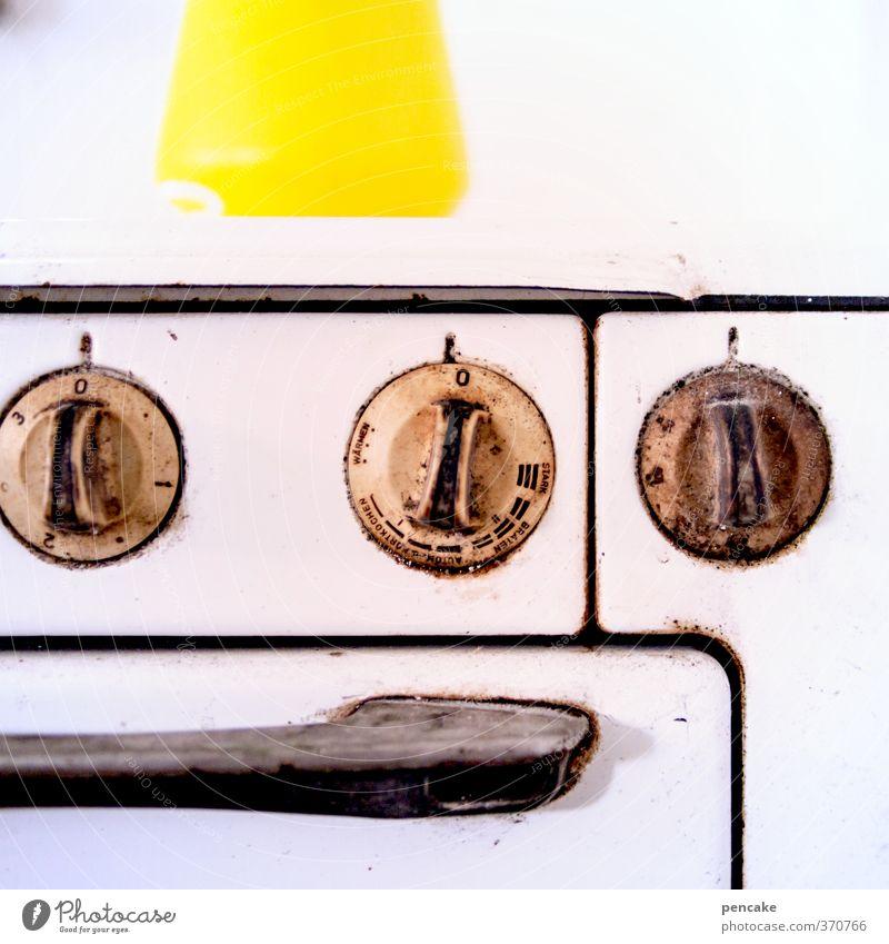 Esswahn | goldwert | AST6 Inntal weiß schwarz gelb Essen Metall dreckig gold authentisch Ernährung Coolness Technik & Technologie retro Zeichen Kochen & Garen & Backen Küche heiß
