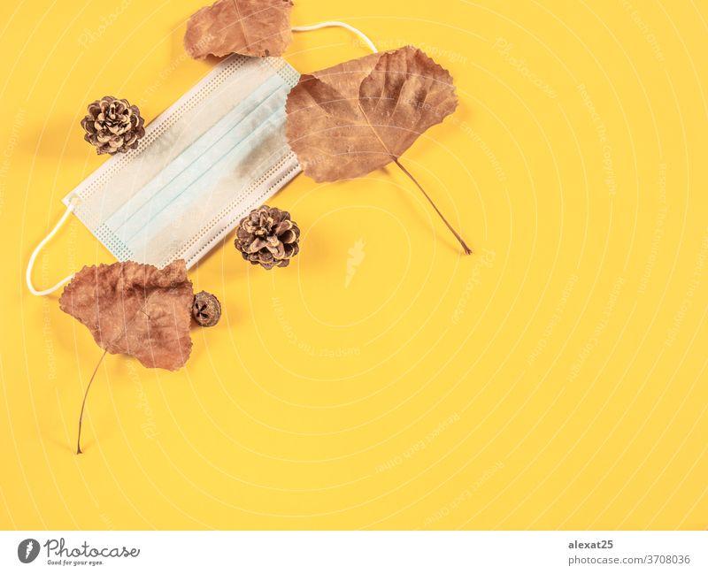 Coronavirus und Herbstkonzept Herbsthintergrund Herbstlaub Herbstzeit Hintergrund Feier Konzept Textfreiraum covid-19 Dekoration & Verzierung Seuche