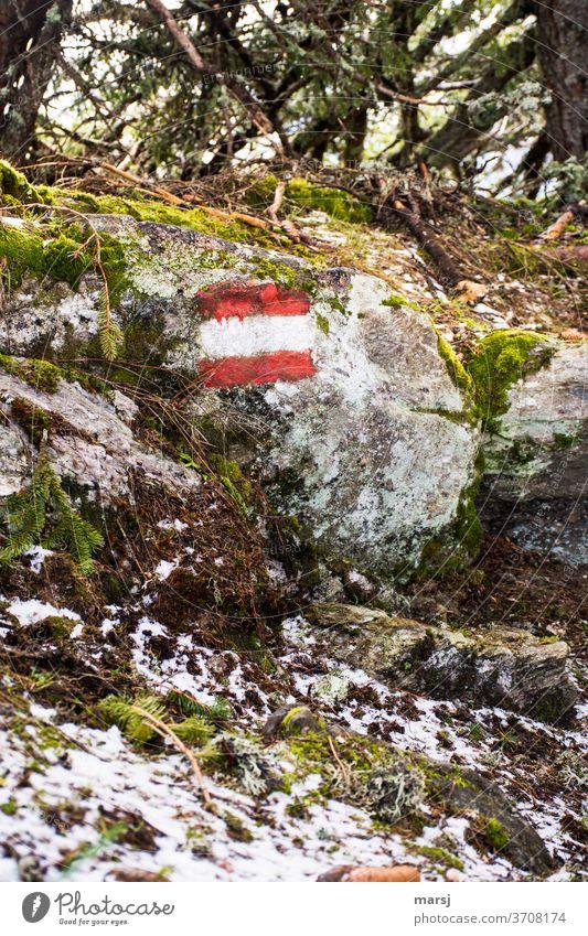 Wanderweg-Markierung in rot-weiß-rot auf Felsen Wandermarkierung Ausflug Schilder & Markierungen Wegweiser wandern Ferien & Urlaub & Reisen Berge u. Gebirge