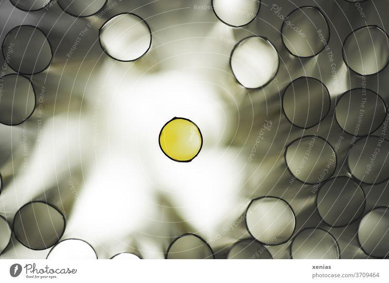 Der Andere - Der schwarz umrandete gelbe Kreis steht alleine vor hellem Hintergrund und ist umringt von vielen mit grauem Licht gefüllten Röhren Ring