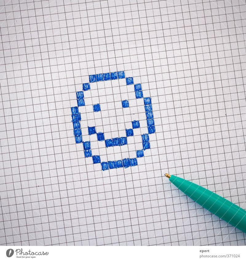 Binärbild analog Papier Zettel Schreibstift Kugelschreiber Zeichen zeichnen Fröhlichkeit lustig Kreativität malen Smiley kariert Farbfoto Innenaufnahme