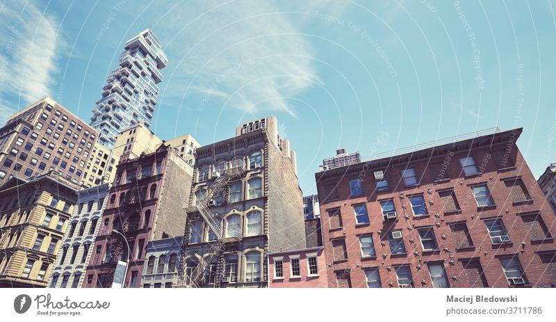 Manhattan vielfältige Architektur, New York, USA. New York State Großstadt Gebäude Appartement Haus Fassade retro Instagrammeffekt alt altehrwürdig nyc