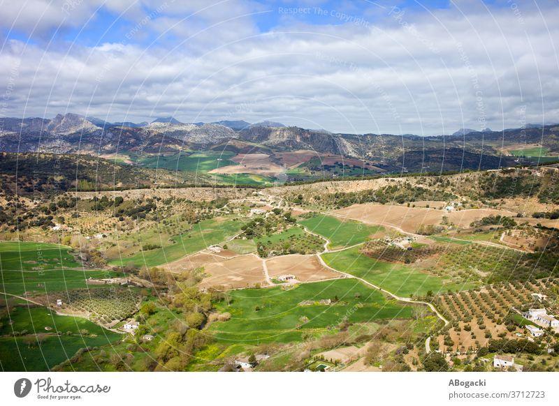 Andalusiens Landschaft in Spanien Andalusia Feld ländlich Natur im Freien Wiese Europa grün Grasland Bauernhof Ackerland Spanisch Hügel hügelig kultiviert
