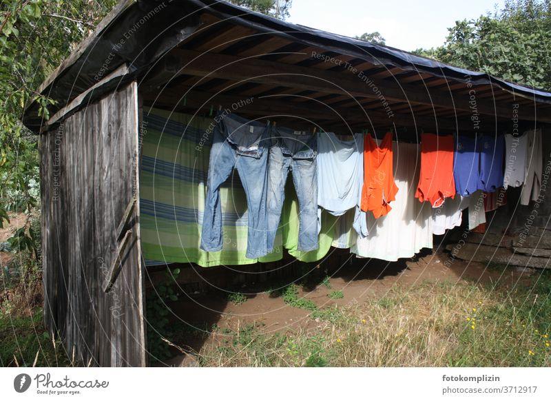 Bunte Wäschleine in einem Gartenschuppen Wäscheleine Haushalt Wäsche waschen Haushaltsführung trocknen Sauberkeit aufhängen Häusliches Leben Bekleidung Waschtag