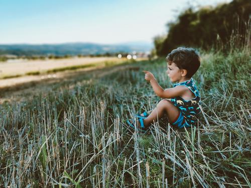 Kind in der Natur Kindheit Feld Wiese Mensch Farbfoto Gras Außenaufnahme Fröhlichkeit 3-8 Jahre entdecken