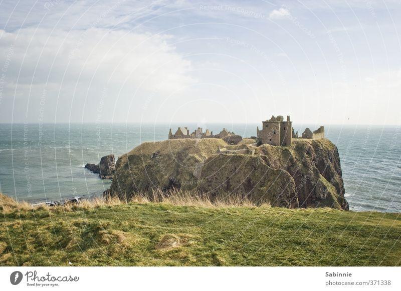 Dunnottar Castle Umwelt Natur Erde Himmel Wolken Gras Feld Felsen Nordsee Meer Aberdeen Schottland ästhetisch außergewöhnlich blau grün uneinnehmbar