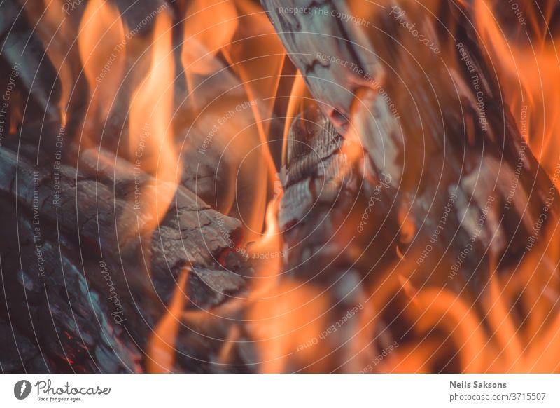 Nahaufnahme von brennendem Brennholz Feuer Flamme erwärmen Brandwunde Freudenfeuer Holz heiß Lagerfeuer rot orange Flammen Rauch Kohle Gefahr schwarz