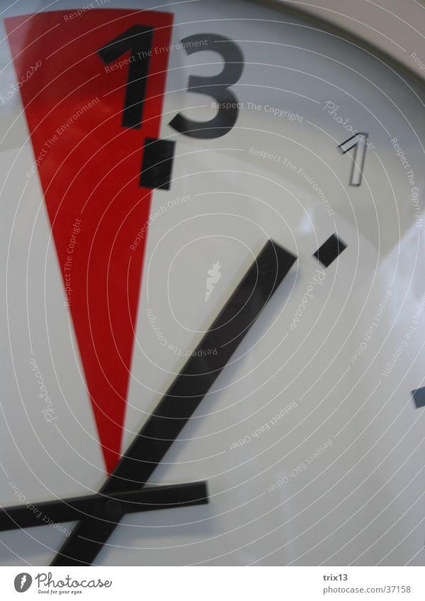 Uhr weiß rot Zeit Ziffern & Zahlen 13 Uhrenzeiger