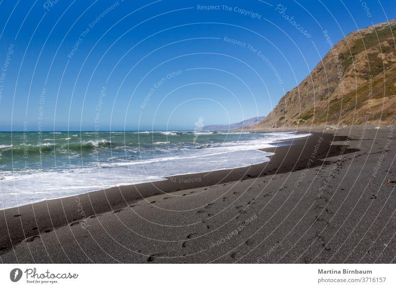 Der schwarze Sandstrand an der Westküste, Kalifornien USA Ferien Wellen Ruhe Strand Meer pazifik MEER Landschaft Küste Wasser Natur Gegend national nördlich