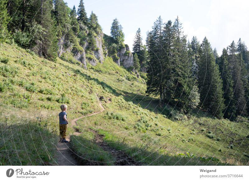 Kind beim Wandern wandern Junge Berge u. Gebirge Allgäu Alpen Natur Landschaft Farbfoto Außenaufnahme Ferien & Urlaub & Reisen Bergsteigen Felsen Sommer