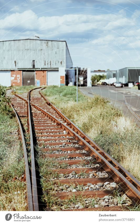 Gleise einer Werksbahn mit Weiche vor einer Fabrikhalle Eisenbahn Bahngleis Lagerhalle alt Stillstand Verfall Vergänglichkeit Ruhe Mittag Pause Werksferien Weg