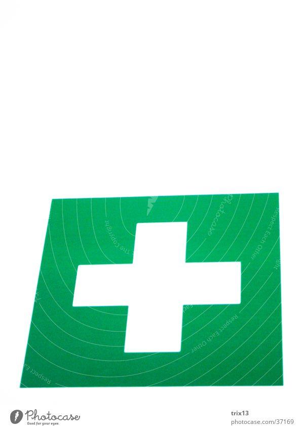 Apotheke! grün weiß Rechteck Quadrat Verbandkasten Dinge Rücken