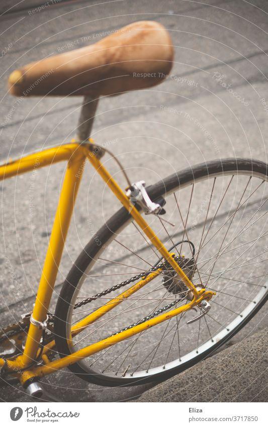 Hinterteil eines gelben vintage Rennrades Fahrrad Fahrradfahren retro Sattel Ledersattel Sport Lifestyle trendy Mobilität hip Straße Hinterreifen