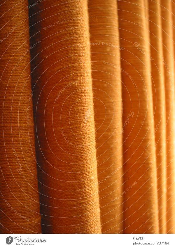 Vorhang Muster vertikal gelb Wölbung Fototechnik Detailaufnahme orange Schatten Häusliches Leben