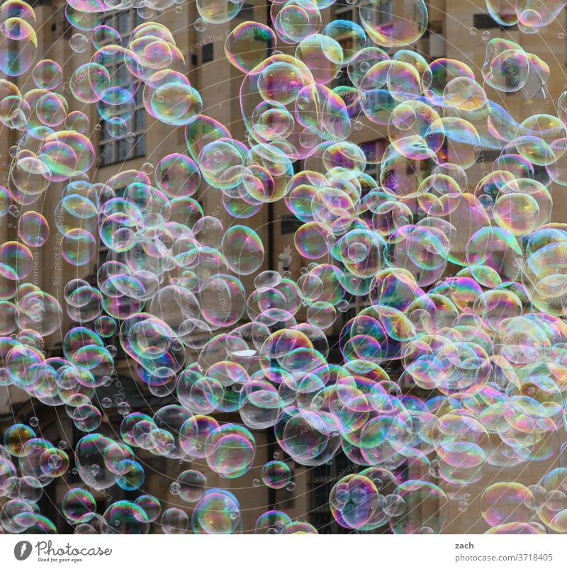 Träume und Seifenblasen Blase Wand bunt fliegen Leichtigkeit viele Kindheit Kinderspiel Masse menge rund Schweben