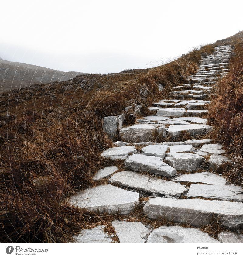 hinauf Landschaft Wolken Herbst schlechtes Wetter Nebel Sträucher Hügel Felsen Berge u. Gebirge kalt Treppenhaus Stein steinig Wege & Pfade Ziel aufwärts