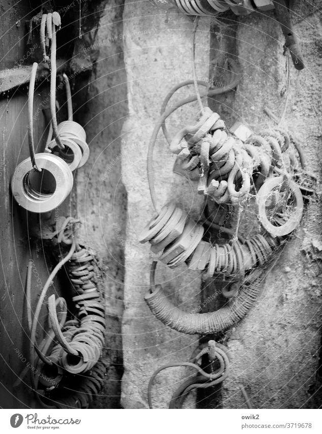 Hinterster Winkel Schlüsselringe Haken Unterlegscheiben Dinge Sammlung Wand Mauer Lager Lagerplatz Lagerschuppen Sammelsurium Vorrat Stein Metall hängen alt