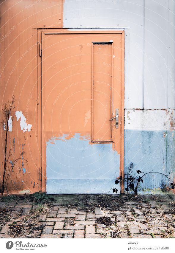 Verlustzone Blechtür Vergänglichkeit Zerstörung Verfall trashig alt Metall Farbfoto Außenaufnahme Nahaufnahme Detailaufnahme Menschenleer Textfreiraum oben