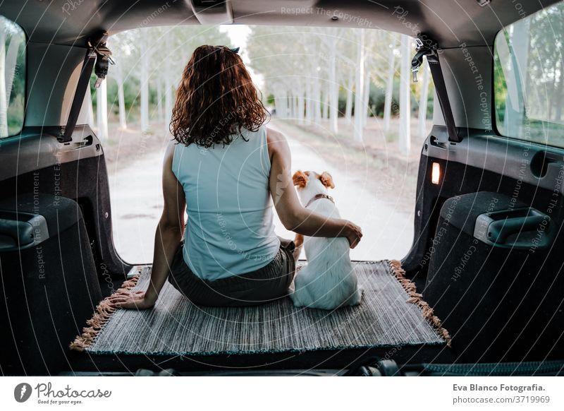 junge glückliche Frau mit ihrem Hund in einem Auto. Reisekonzept. Rückansicht PKW reisen jack russell Zusammensein Liebe im Freien Lifestyle Freundschaft Urlaub