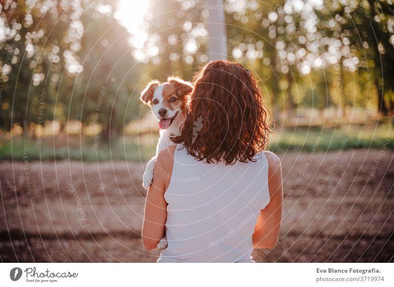 junge glückliche Frau in einem Auto, die ihren süßen Hund kuschelt. Reisekonzept Sonnenuntergang im Freien Liebe Zusammensein Park jack russell Lifestyle