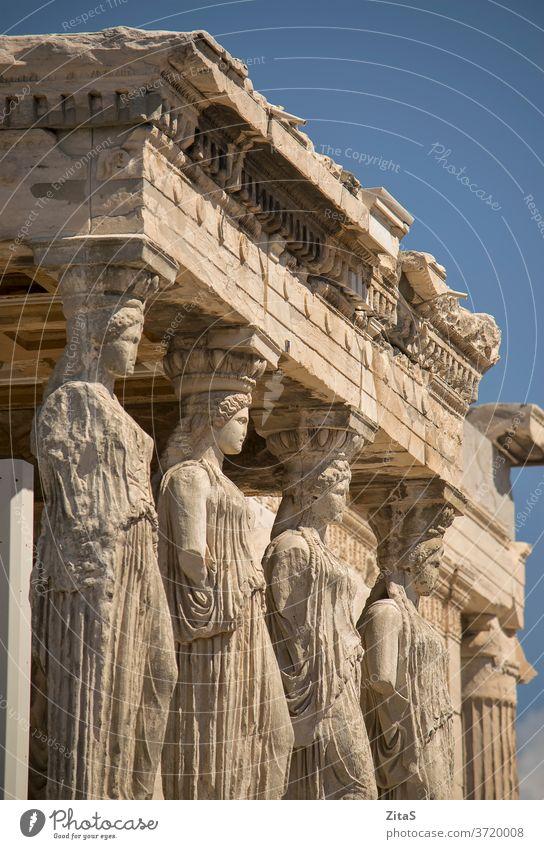 Akropolis in Athen Griechenland Statuen Detailaufnahme Nahaufnahme Architektur Gebäude alt Europa Anziehungskraft berühmt Ort Tourist touristisch Denkmal