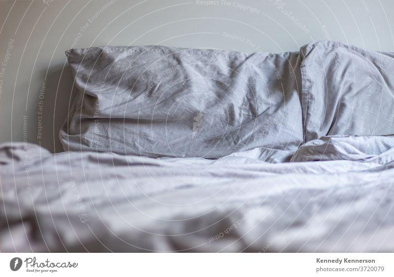 Bett mit grauen Kissen und Decken Schlafzimmer Schlafenszeit umfasst Kopfkissen Erholung Lügen Schot Lifestyle sich[Akk] entspannen Morgen Sonntagmorgen