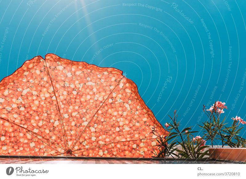 sommer vorm balkon Sommer Blauer Himmel Balkon Sonnenschirm Erholung Schönes Wetter Froschperspektive Balkonien sommerlich zuhause Blumen Sonnenlicht blau rot