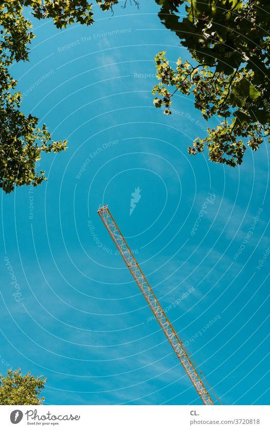 kran Kran Blätter Baustelle Baum Sommer blau grün groß gelb Schönes Wetter riesig hoch Blauer Himmel Wolkenloser Himmel Froschperspektive