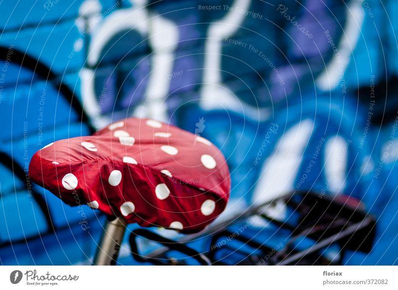 fliegensattel | ut köln | ehrenfeld blau Stadt weiß rot Erholung Freude Wand Sport Mauer Glück Freizeit & Hobby Fahrrad sitzen Verkehr frei Ausflug
