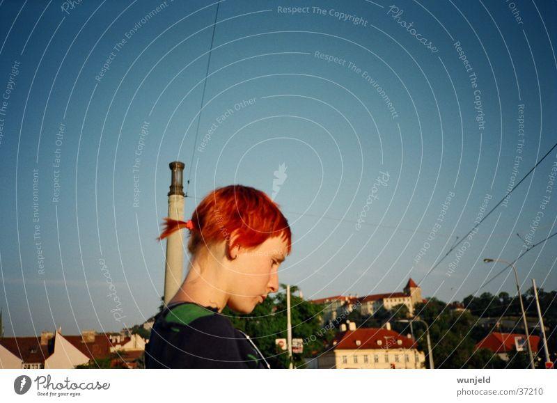 my Love Frau blau Stadt rot Sonne feminin Tschechien Prag Morgen