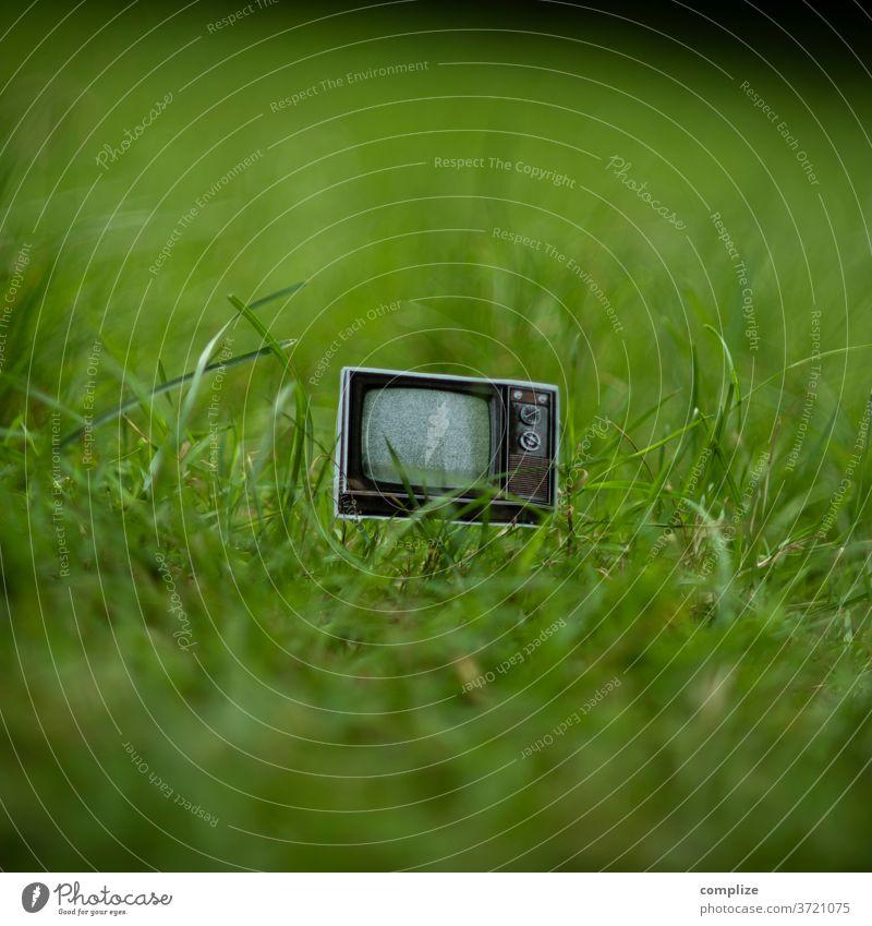 imgrünen.tv Fernseher TV Vintage sperrmüll Müll Abfall kaputt 70er Jahre 80er jahre wegschmeisen alt Fernseher, Fernsehen Screen Technologie Programm gras wiese