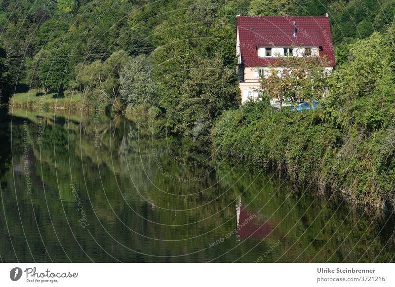 Kleines Haus mit rotem Dach am Neckarufer Fluss Flussufer Ufer Neckartal Gebäude Einfamilienhaus grün Natur Flusslauf Spiegelung Idylle naturnah leben Wasser