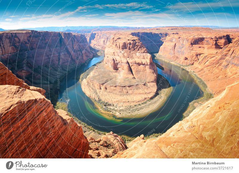 Das Horseshoe Bend in Arizona, ein Mäander des Colorado River im Glen Canyon Hufeisen Wegbiegung Landschaft reisen Fluss Schlucht Pferd Wasser herrschaftlich