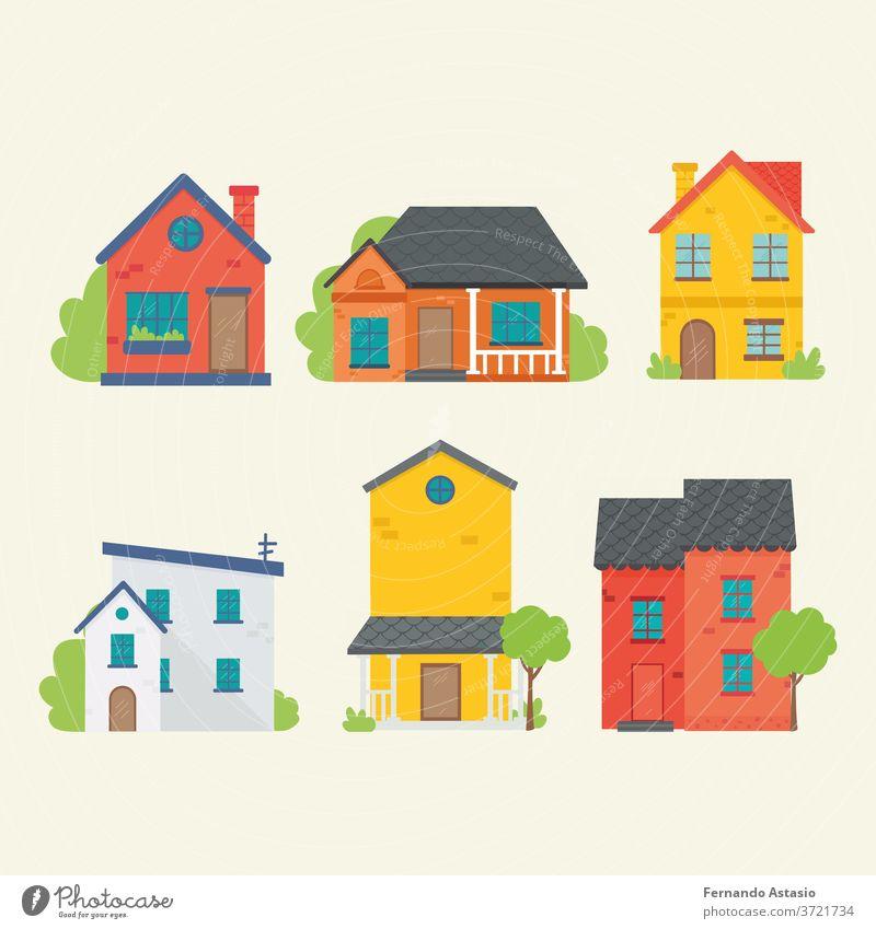 Flache Ikone verschiedener Häuser. Vektor-Illustration im flachen Stil. Haus heimwärts Gebäude Anwesen 3d vereinzelt Dach weiß Architektur wirklich