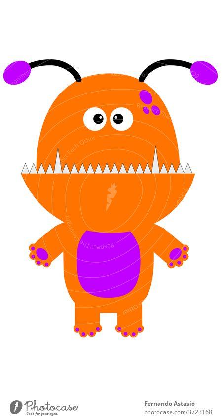 Halloween-Charakter-Vektor-Illustrationsmonster. EPS10-Vektor Karikatur Tier Grafik u. Illustration niedlich lustig Fisch Spaß Liebe vereinzelt Spielzeug Glück