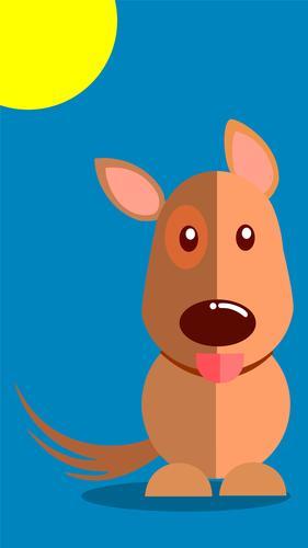 Lächelnder Hund mit herausstehender Zunge, Vektor-Illustration mit blauem Hintergrund. EPS10-Vektor Echtzeit keine Menschen Farbe Tag Zeitgenosse