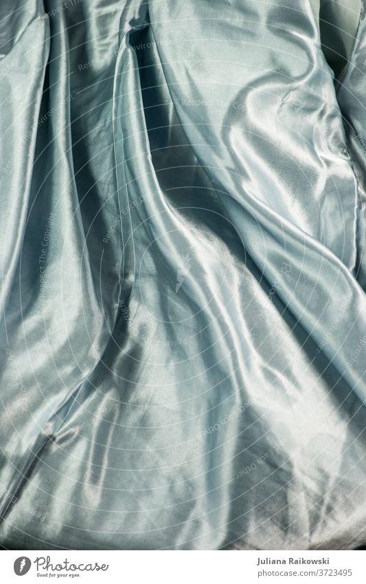 edler Satin Seide Hintergrund Design Dekoration & Verzierung Farbfoto Farbe Textil Nahaufnahme Stoff Weihnachten festlich Feste & Feiern Glanz glänzend blau