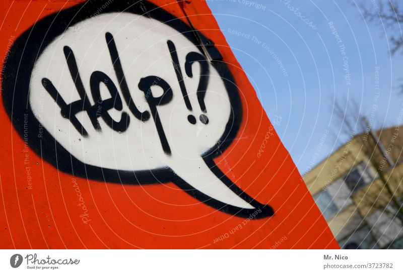 Help !? Hilfe Hilfesuchend Hilferuf Sprechblase Graffiti rot Gebäude Mauer Wand Schriftzeichen Fassade Himmel stumme botschaft Buchstaben Sorge Verzweiflung