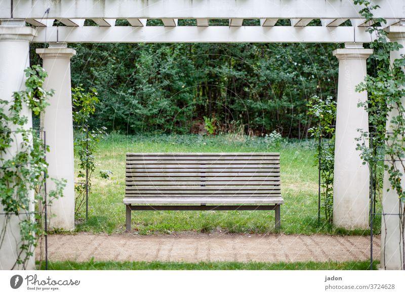 bankenparadies. Bank Sitzbank Sitzgelegenheit Menschenleer Außenaufnahme Farbfoto Holz Holzbank Tag ruhig Einsamkeit Parkbank Arkaden Pflanze Textfreiraum Mitte