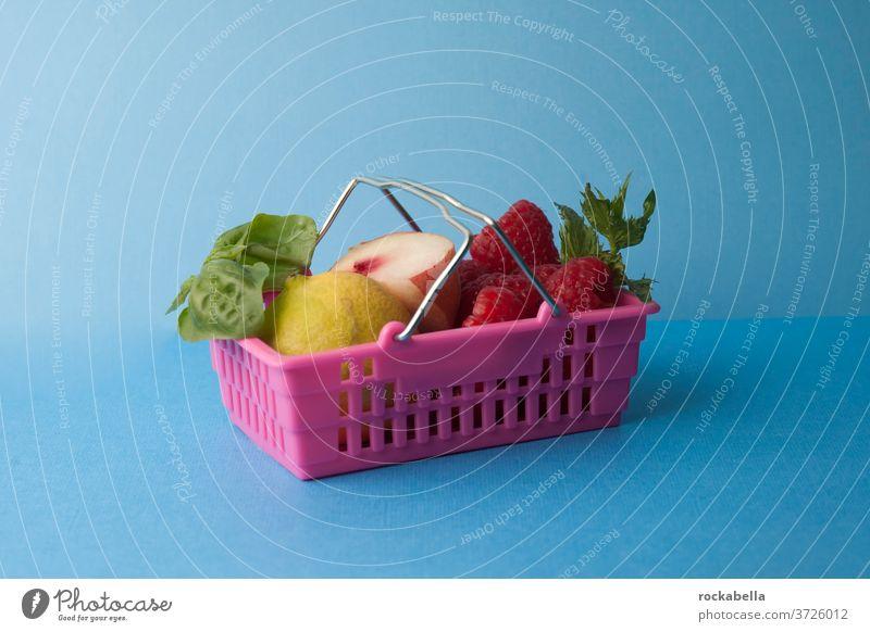 Kleiner Einkauf Einkaufskorb Supermarkt kaufen Lebensmittel Obst Einkaufen Früchte Gesunde Ernährung frisch Gesundheit Essen lecker Vitamin Vitamine