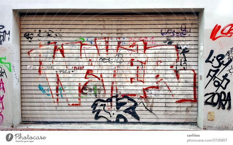Graffiti auf Rolltor | Ist das Kunst, oder kann das weg ? Tor Garage Einfahrt Ausfahrt Farbe Schmiererei Vandalismus Garagentor geschlossen Menschenleer grau