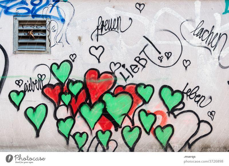 Lieben leben lachen Schriftzeichen Typographie Gefühle Romantik Zusammensein Graffiti Valentinstag Liebeserklärung Liebesbekundung lieben Leben freuen Freude