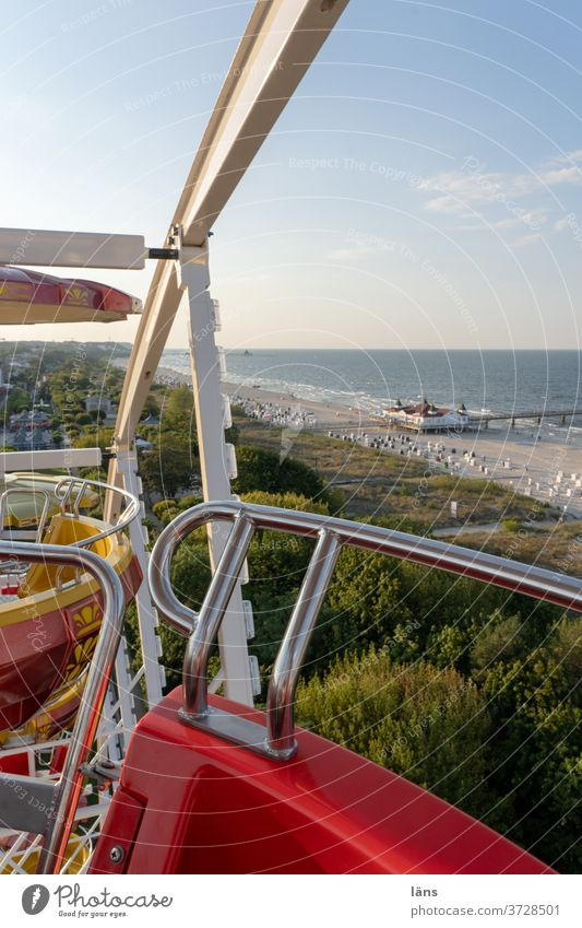 Stadtrundfahrt |Riesenrad in Ahlbeck Ostsee Seebrücke Strand Meer Ferien & Urlaub & Reisen Tourismus Küste Himmel Mecklenburg-Vorpommern Ostseeküste Reiseziel