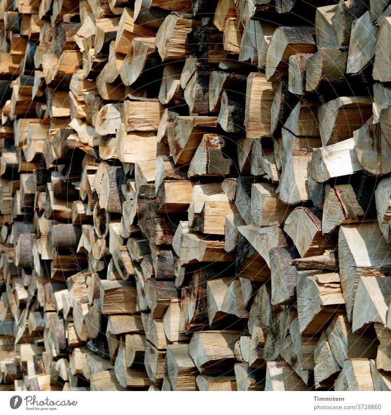 Stapelholz Holz Holzstapel aufgeschichtet Kanten Licht Schatten Brennholz Forstwirtschaft Baum Natur Brennstoff