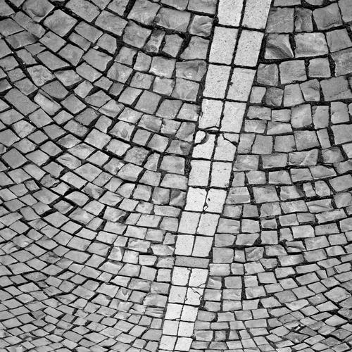 Platz mit Pflastersteinen Steine Linie Fugen Wege & Pfade Strukturen & Formen Menschenleer grau Schwarzweißfoto